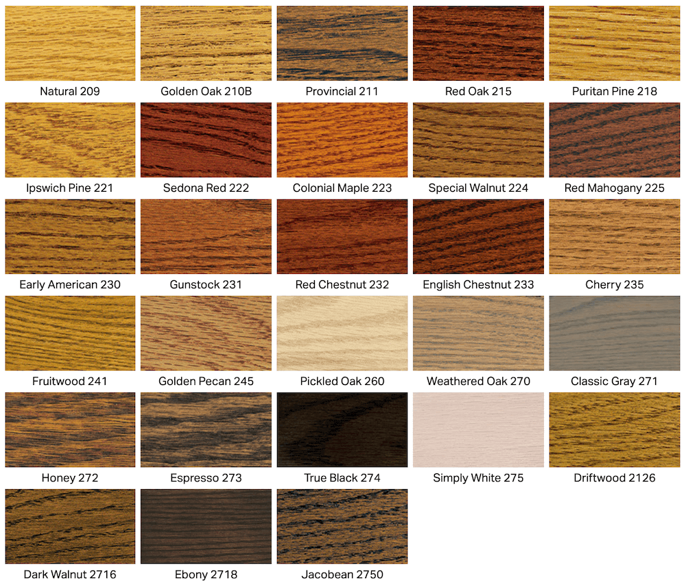 The stain color options we use for different types of wood.