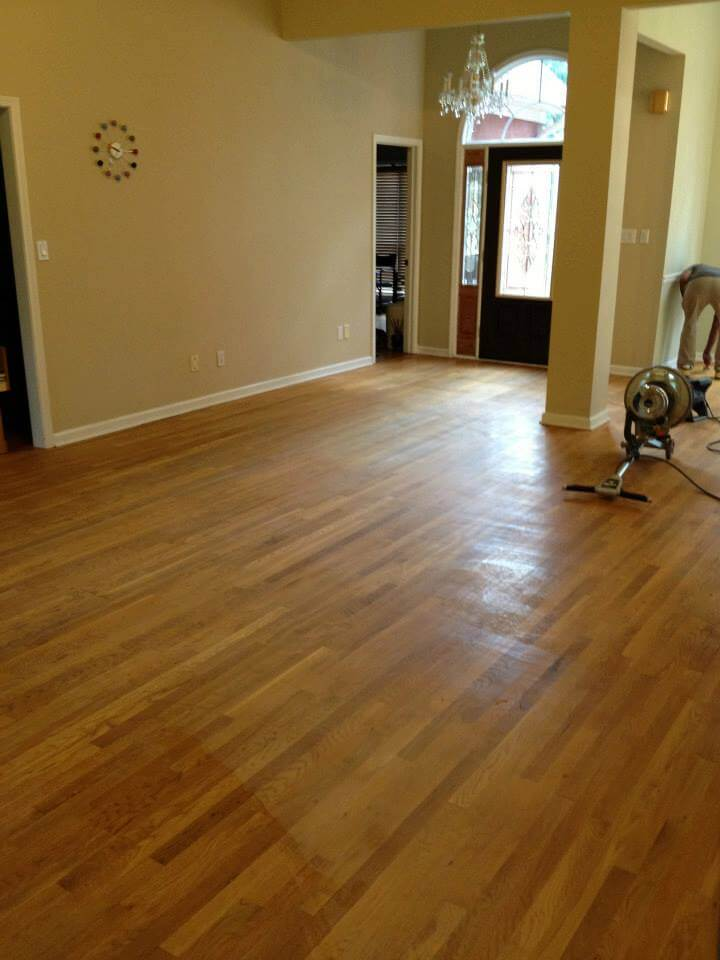 a slightly beat up wood floor