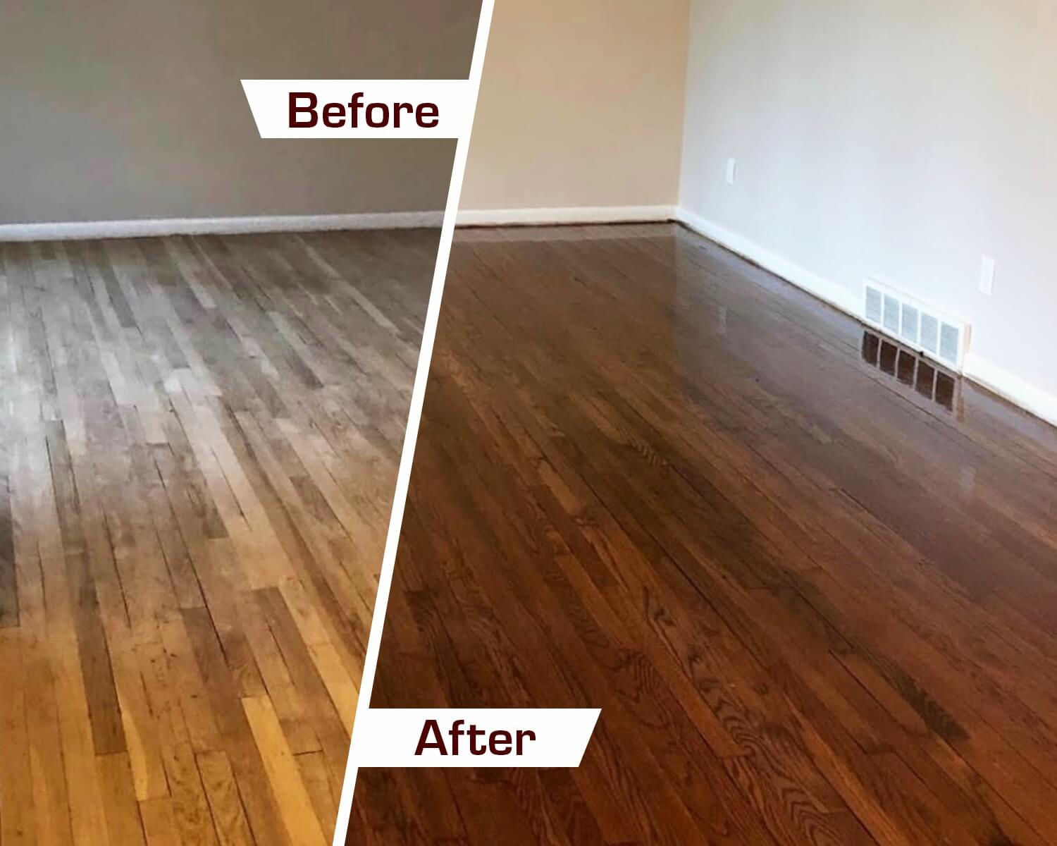 before and after wood floor refinishing