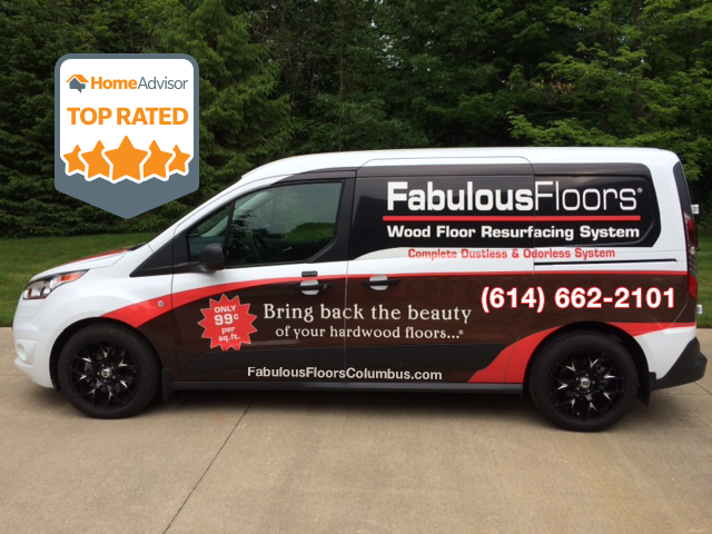 The Fabulous Floors Columbus van parked outside of a home