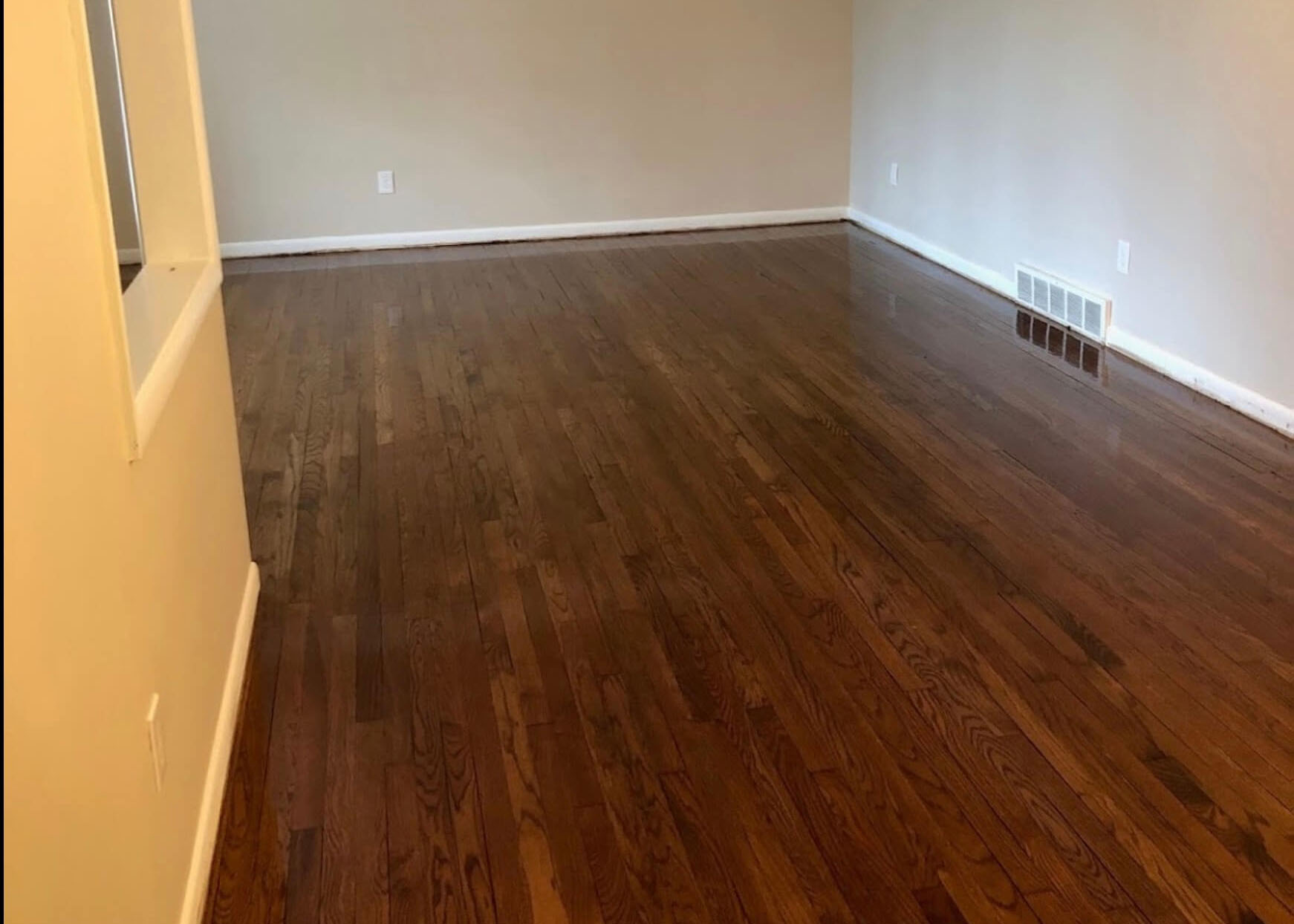 freshly resurfaced hardwood floor