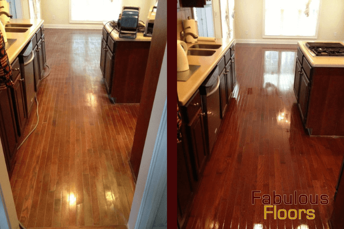 before and after hardwood floor refinishing in Westerville, OH