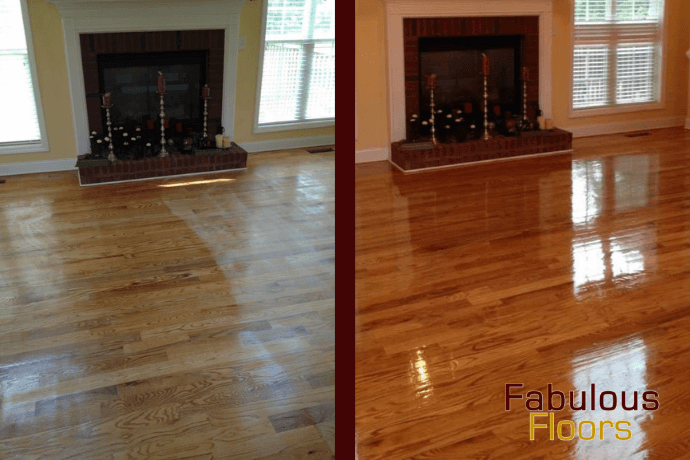 before and after hardwood floor refinishing in grove city, oh